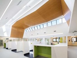 Timber finish ceiling creates calm and inviting ambience at Geelong hospital