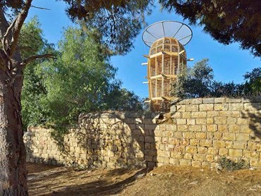 The cactus-shaped Ester Tower in the Hansen House gardens, Jerusalem