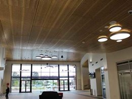 Ultraflex's black core FR MDF used for timber ceiling panels at Coomera Community Hub