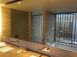 Exterior shutters provide privacy to guests at Saffire Freycinet Resort
