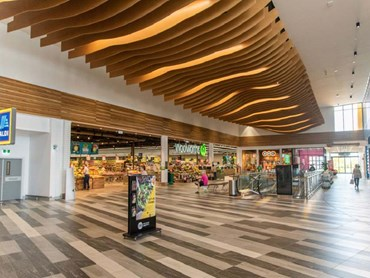 SUPAWOOD WAVE BLADES create an eye-catching suspended ceiling feature