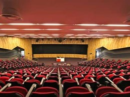 Ultraflex custom manufactures perforated MDF panels and fabric wrapped acoustic wall panels for Macquarie University theatre