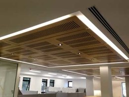 Ultraflex's custom slotted black FR laminate ceiling panels installed at Macquarie University VC's office
