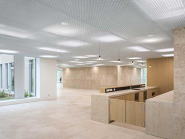 durlum's TICELL-N metal open-cell ceiling at Novartis HO