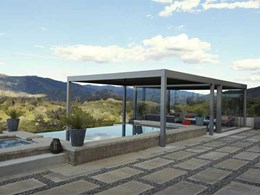 Building a pool house? Try a louvered canopy instead