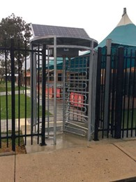 Magnetic's solar powered full height turnstile installed at manufacturing plant