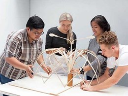 Exchange students designing shelter prototypes for Indonesian street vendors
