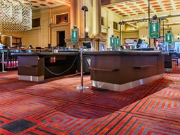 Bespoke carpet in Feng Shui colours designed for SkyCity Adelaide Casino