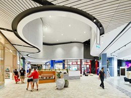Coastal shopping centre features Supawood Driftwood ceiling