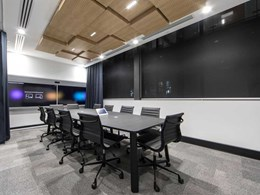 IA Design defines areas in office fitout with 3D tiles and aluminium slats