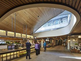 Undulating slatted timber ceiling a warm and welcoming feature