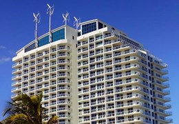 Six rooftop wind turbines give power to Hilton Fort Lauderdale Beach Resort